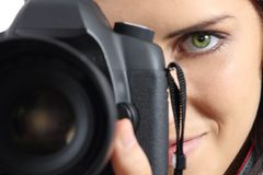 Close Up Of A Photographer Photographing With A Dslr Camera Royalty Free Stock Image