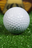 Close Up Of A Vintage Three Wood Golf Club With Ball Stock Images