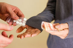 Free Close Up Of Addict With Money Buying Dose From Dealer. Drug Traf Royalty Free Stock Images - 86870199