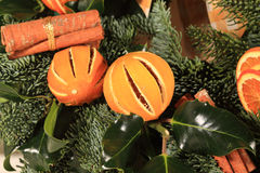 Close Up Of An Oranges And Cinnamon Wreath Royalty Free Stock Image
