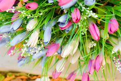 Close Up Of Artificial Flower Bouquet. Silk Flowers Stock Images