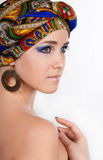 Close-up Of Attractive Woman In Oriental Turban Stock Photography