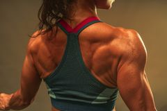 Close Up Of Back Muscle Of The Asian Athletic Middle Age 40 Year Old Woman Show The Lean And Healthy Muscle Body After The Fitness Royalty Free Stock Image