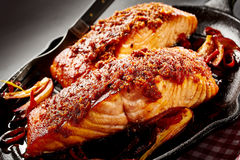 Close Up Of Baked Salmon Dish Stock Photography