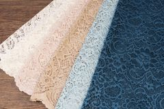 Free Close Up Of Beautiful Tulle. Sheer Curtains Fabric Sample. Texture, Background, Pattern. Interior Design. Vintage Lace Tulle Royalty Free Stock Images - 142343499