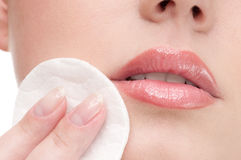 Close-up Of Beauty Woman Applying Sponge Stock Images