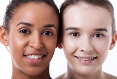 Free Close Up Of Black And White Female Faces Together Royalty Free Stock Photos - 193548398