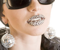 Close-up Of Black Lips With Strass Royalty Free Stock Image