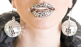 Close-up Of Black Lips With Strass Stock Photo