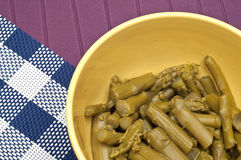 Close Up Of Bowl Of Canned Asparagus Stock Photography