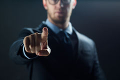 Free Close Up Of Businessman Touching Virtual Screen Stock Photography - 79526922