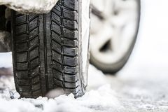 Free Close-up Of Car Wheel In Winter Tire On Snowy Road Stock Photos - 105302773