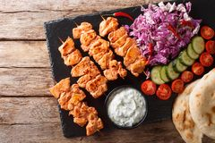 Free Close-up Of Chicken Skewers With Fresh Salad, Yogurt Sauce And Pita Bread On A Slate. Horizontal Top View Stock Photos - 137281953