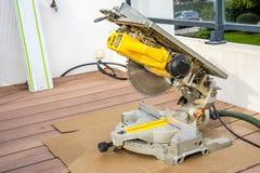 Free Close Up Of Circular Saw Bench And Sharp Rotary Blade. Wood Work Equipment And Machinery. Stock Photo - 203697420