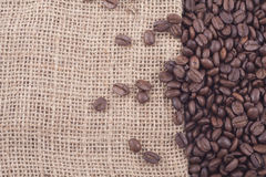 Close Up Of Coffee Beans On Jute Stock Photo