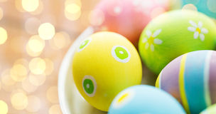 Close Up Of Colored Easter Eggs On Plate Royalty Free Stock Images