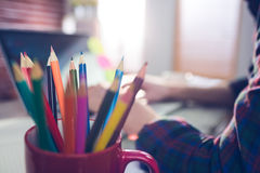 Free Close-up Of Colored Pencils In Mug Royalty Free Stock Image - 60526336