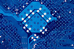 Close Up Of Computer Circuit Board In Blue Royalty Free Stock Image