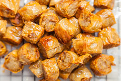 Close Up Of Crab Sausage (Hoi Jor) Stock Image