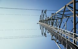 Free Close Up Of Electrical Tower And Blue Sky. Renewable Energy And Smart Grid Royalty Free Stock Photos - 143028608