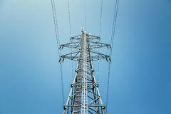 Free Close Up Of Electrical Tower And Blue Sky. Renewable Energy And Smart Grid Stock Photography - 143028662