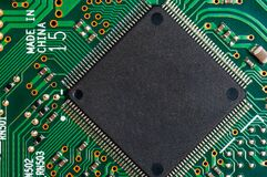Free Close-up Of Electronic Circuit Board PCB With Microchip, Processor, Integrated Circuits, Resistances And Electronic Connections. Stock Photos - 187797083
