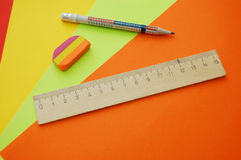 Close Up Of Four Colourful Papers And Tools Stock Images