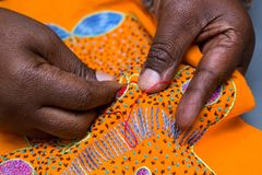 Free Close Up Of Hands Doing Embroidery Work. Royalty Free Stock Photos - 123188828