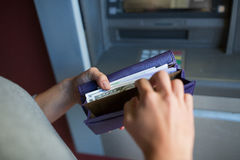 Free Close Up Of Hands With Money At Atm Machine Royalty Free Stock Image - 83619766