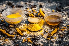 Free Close Up Of Ingredients Of Ayurvedic Treatment Or An Ayurvedic Face Pack I.e Honey,chickpea Flour And Paste,turmeric Powder And Ro Stock Photos - 147473393