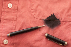 Close Up Of Man S Stained Shirt With Broken Pen Royalty Free Stock Photos
