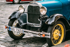 Close Up Of Old Vintage Blue Car Ford A Royalty Free Stock Photography