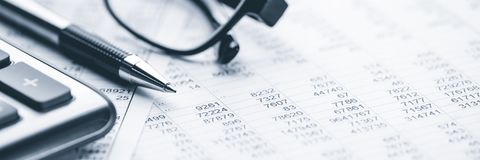 Free Close-up Of Pen Calculator And Reading Glasses Stock Image - 165786861