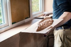 Free Close Up Of Plasterer Plastering Room Of House Stock Images - 139702254