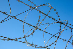 Free Close Up Of Razor Security Fence Against Blue Sky Stock Images - 38897244