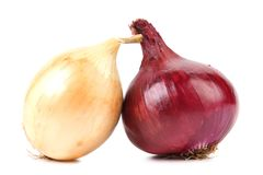 Close Up Of Ripe Onion Red And White. Royalty Free Stock Photos