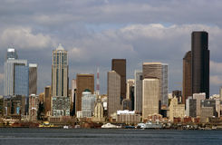 Close Up Of Seattle Financial District Stock Photography