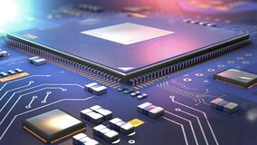 Free Close Up Of Semiconductor Processor On Computer Circuit Board Stock Photography - 188039392