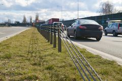 Free Close-up Of Steel Ropes. Cable Barrier, Also Called Guard Cable Or Wire Road Safety Barrier, Is Increasingly Used Road Safety Royalty Free Stock Images - 142147089