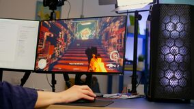 Free Close-up Of Streamer Playing First Person Shooter Video Game Royalty Free Stock Image - 216662276