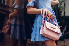 Free Close-up Of Stylish Female Handbag. Fashionable Woman Holding Beautiful Accessories Outdoors. Royalty Free Stock Photos - 124003418