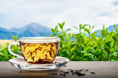 Free Close Up Of Tea Cup On Wooden Over Indian Landscape Background W Royalty Free Stock Photos - 87880198
