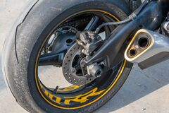 Free Close-up Of The Rear Wheel Of A Motorcycle Royalty Free Stock Images - 210814409