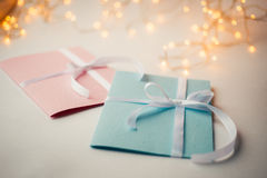 Close Up Of Two Greeting Cards Stock Photography