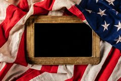 Free Close-up Of USA Flag In Grunge Design With Woden Blackboard For Royalty Free Stock Photos - 103451278