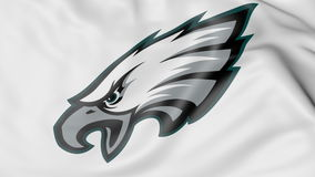 Close-up Of Waving Flag With Philadelphia Eagles NFL American Football Team Logo, 3D Rendering Stock Photos