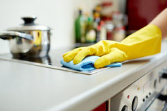 Free Close Up Of Woman Cleaning Cooker At Home Kitchen Stock Photography - 51933872