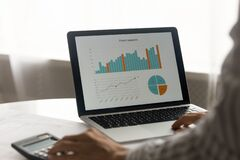 Free Close Up Of Woman Consider Financial Statistics On Computer Stock Photography - 203595522