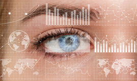 Close-up Of Woman Digital Eye 3D Rendering Royalty Free Stock Image