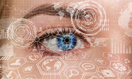Close-up Of Woman Digital Eye 3D Rendering Stock Photo